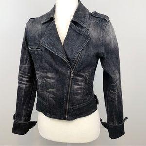 Jessica Simpson black denim moto jacket size M
